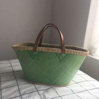 Lovely Lime Green Blogger Style Summer Straw Bag