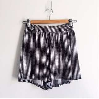 Black and White Checked Culottes / Shorts