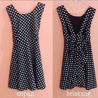 polka navy dress