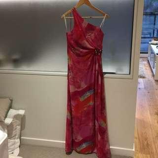 One Shoulder Patterned And Embellished Dress
