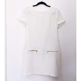 White Crepe Shift Dress