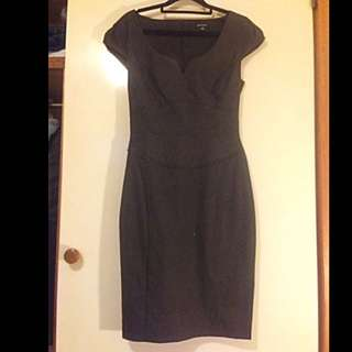 Portmans Size 8 Black Pinstripe Dress