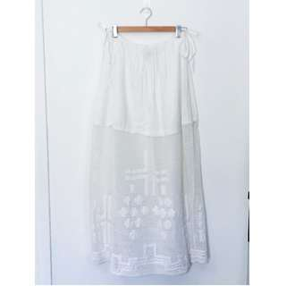 Embroidered White Maxi Skirt