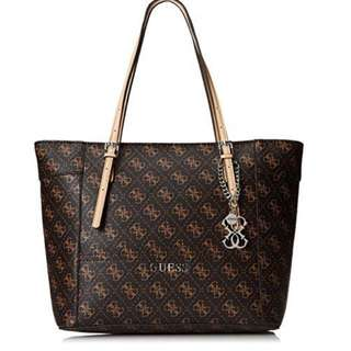 Guess Delaney Logo Classic Tote Bag (Brown)