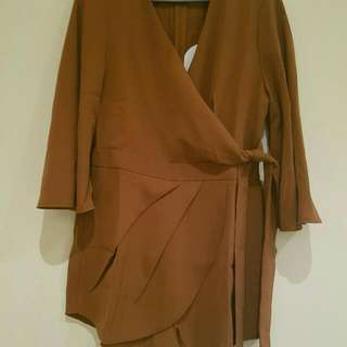 Playsuit Tie Side -Tan - Size 12