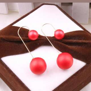 Red Double Ball Earrings