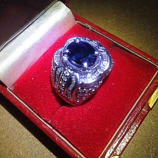 Blue Safir Berlian Cincin Lapis Emas