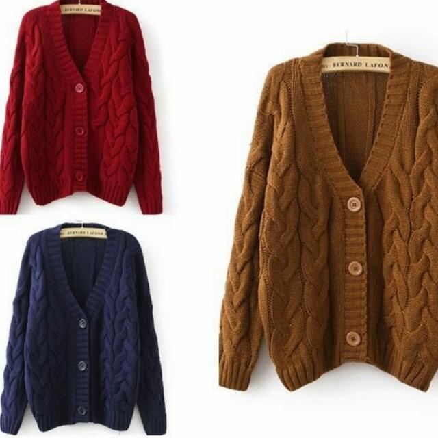麻花針織外套