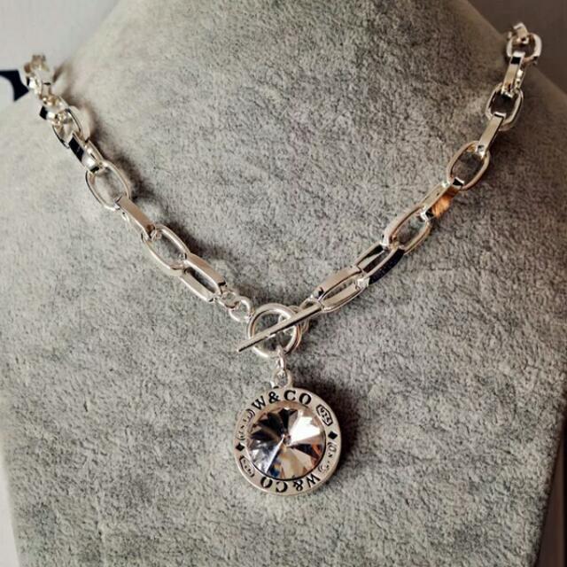(預購)韓國時尚配飾裝飾品誇張個性字母水鑽粗鏈條歐美短款項鍊女鎖骨潮款