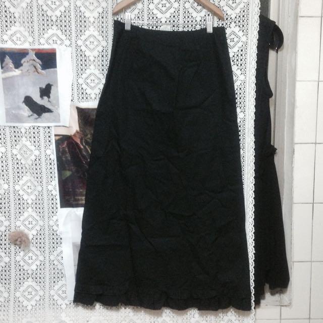 全新正品法國製專櫃設計師品牌agnis b.極簡棉質黑色荷葉邊長裙 全新老品 古著