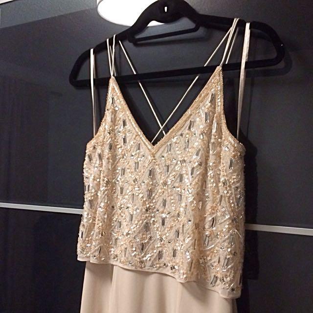 Aidan Mattox Blush Gown Dress Beaded Detail