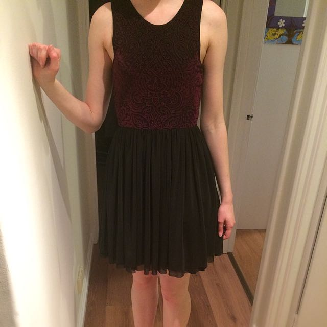 Black Dress With Dark Purple Velvet Pattern