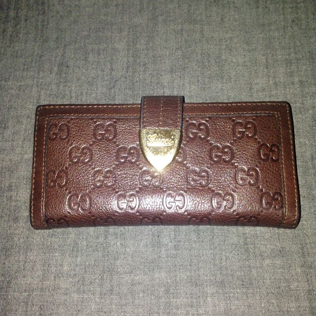 Brown GUCCI leather Long Gold Wallet