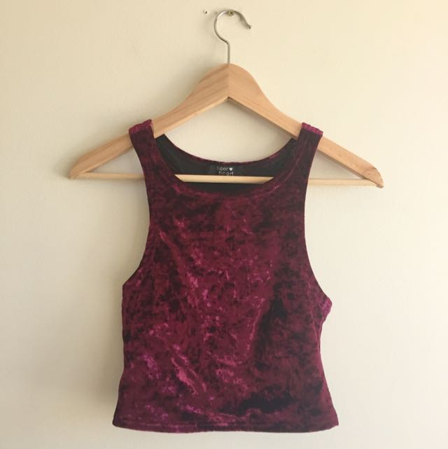 Burgundy Crushed Velvet Crop top Size 8