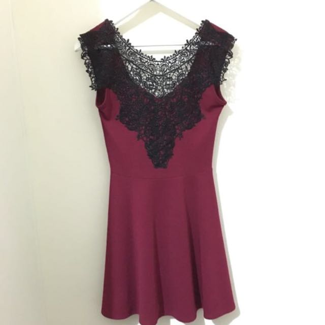 Burgundy Dress with Black Lace