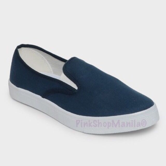 Canvas Slip-On Sneakers in Navy Blue