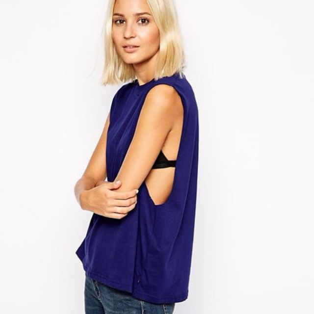 CHEAP MONDAY High Neck Tank in Blue