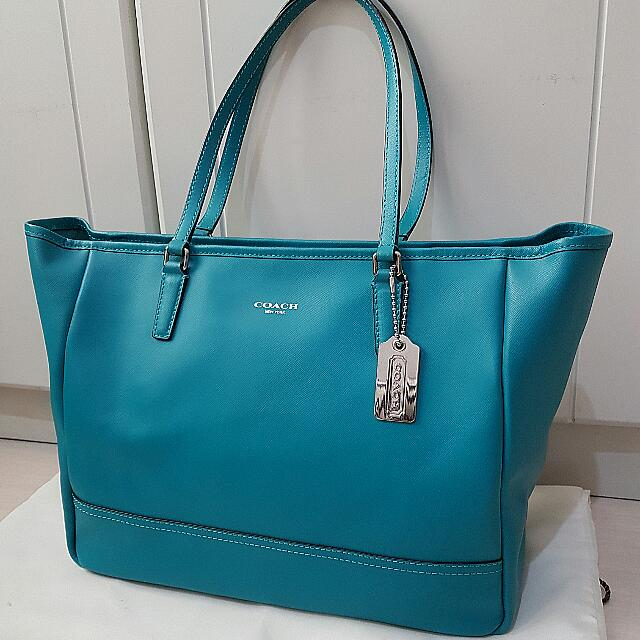 Coach Tote In Turquoise Blue Saffiano Leather