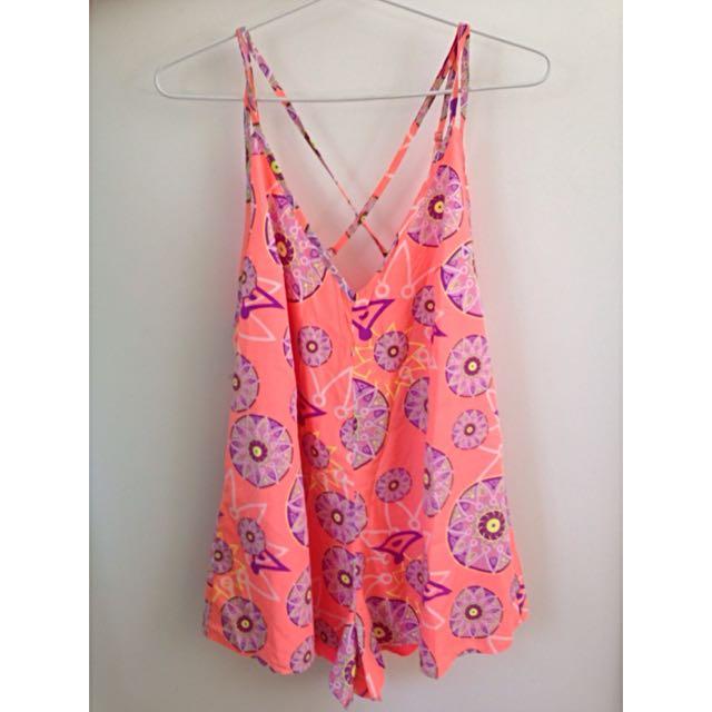Cute Bright Orange/Pink Playsuit Size 10