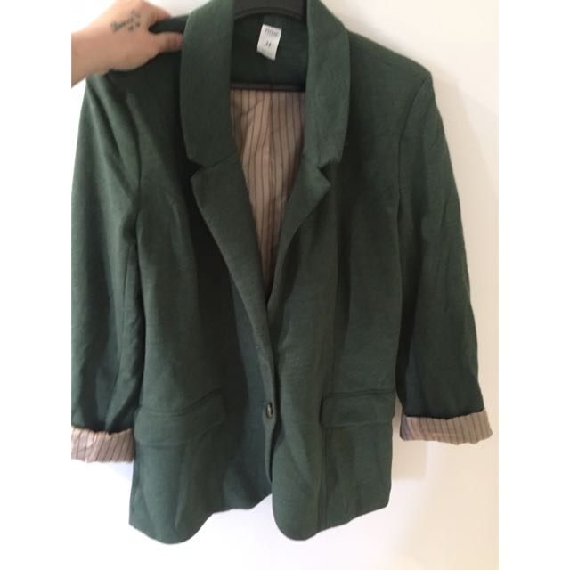 Deep Green Elbow Patched Jacket