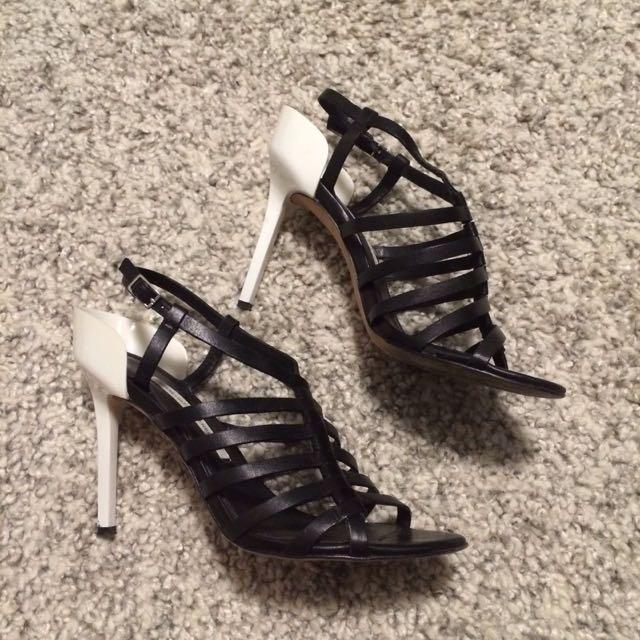 Diane Von Furstenberg Black Strappy Sandals