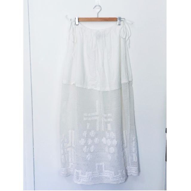 Embroidered White Maxi Skirt