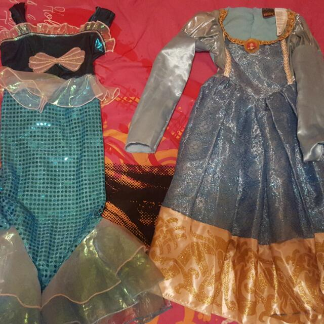 Halloween Costumes Little Mermaid And Brave Size 4/6 Anna 5/6 Rapunzel 4x Jazmin And Elsa 7/8