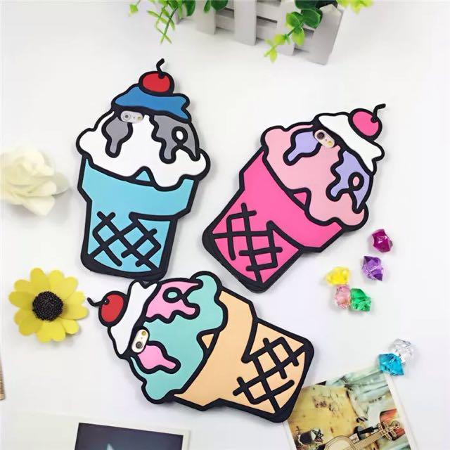 櫻桃雪糕iphone6s冰淇淋手機殼蘋果7plus矽膠套防摔全包殼軟