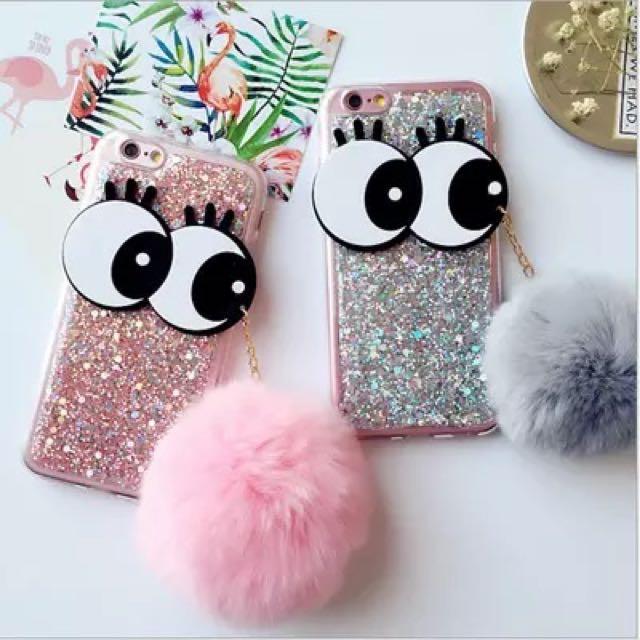 懶兔毛球iphone7手機殼卡通蘋果6s閃粉軟大眼睛7plus保護套