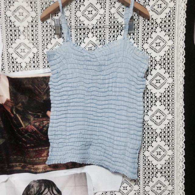 日本🇯🇵Issey Miyake 三宅一生正品水藍色/寶寶藍皺褶細肩帶上衣 壓摺小可愛