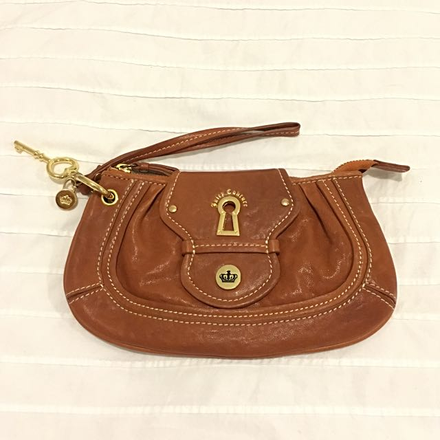 Juicy Couture Leather Wristlet Clutch In Tan