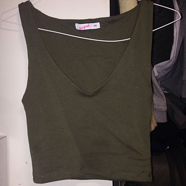 Khaki Supre Crop Top