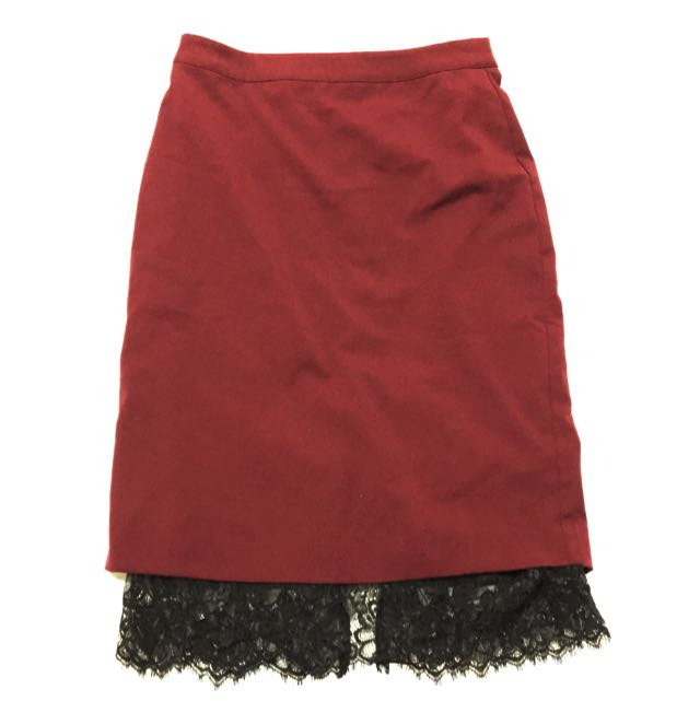 Maroon Lace Pencil Skirt