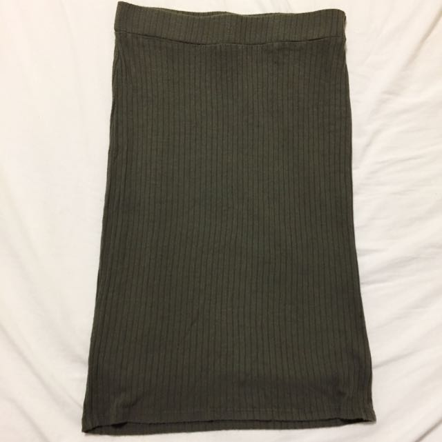 Olive Ribbed Pencil Skirt