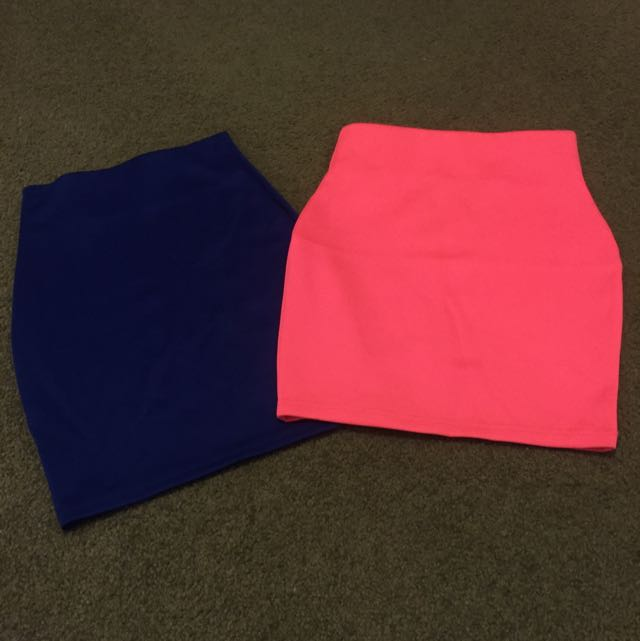 Pink And Blue Mini Skirts