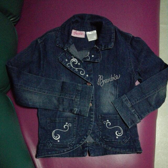 Pre Loved Denim Barbie Jacket For Little Girls 7-8years Old