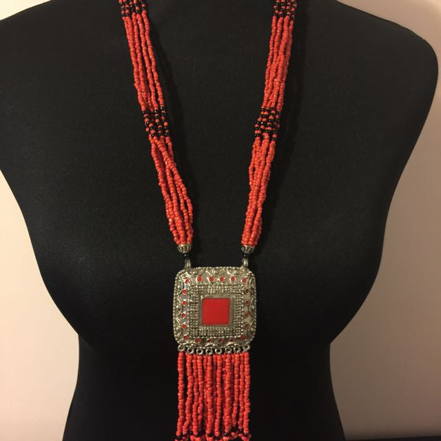 Red Beaded Necklace . Made In Nepal.