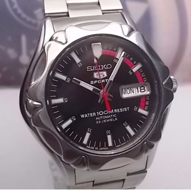 SEIKO 5 SPORTS DAY DATE AUTOMATIC MENS WATCH 7S36 00M0 BLACK