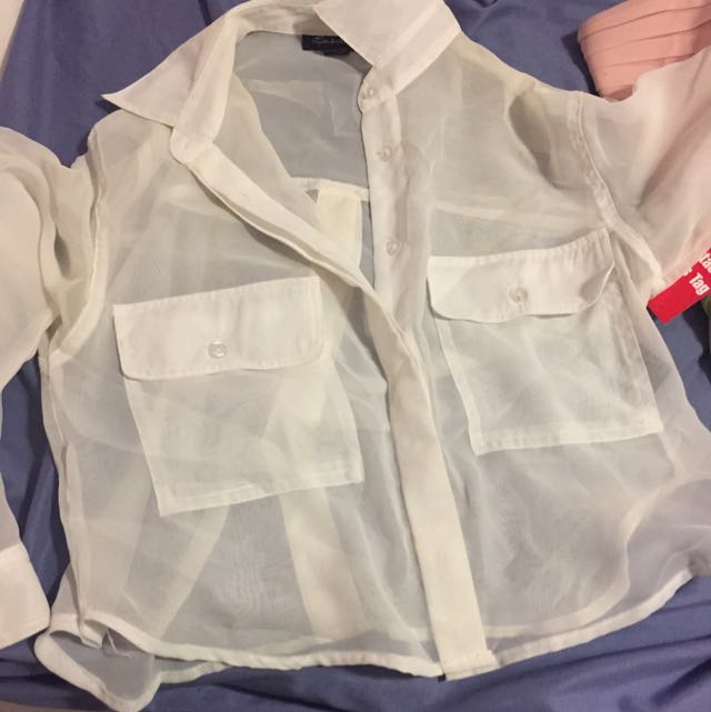 Sheer Button Up Shirt Kinda Cropped Size Small