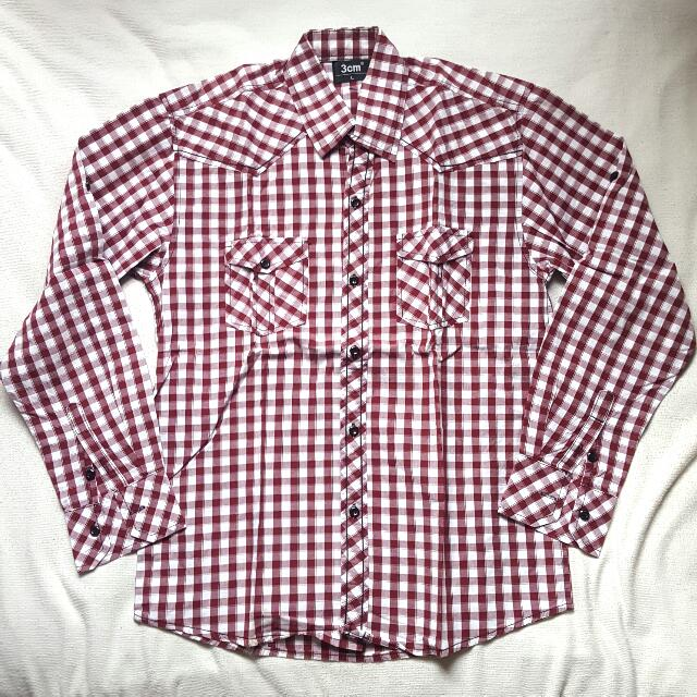 Shirt Long Sleeve Square Pattern. Kemeja Lengan Panjang Kotak Kotak.