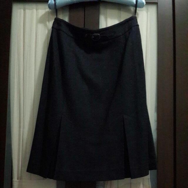TheMe 深灰色高級毛料裙 34號