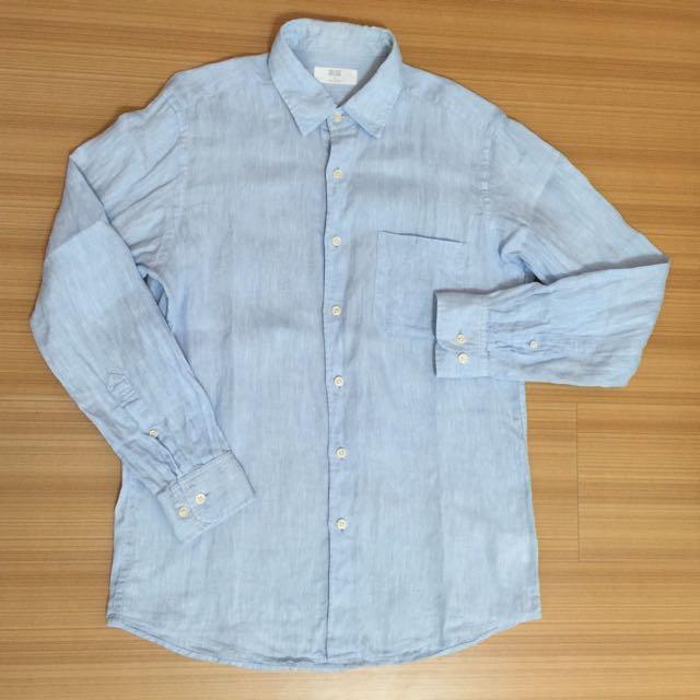 賣男款UNIQLO水藍色休閒襯衫(亞麻料)