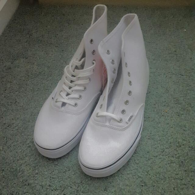 White Hi Top Vans - Mens 8, Womens 9.5