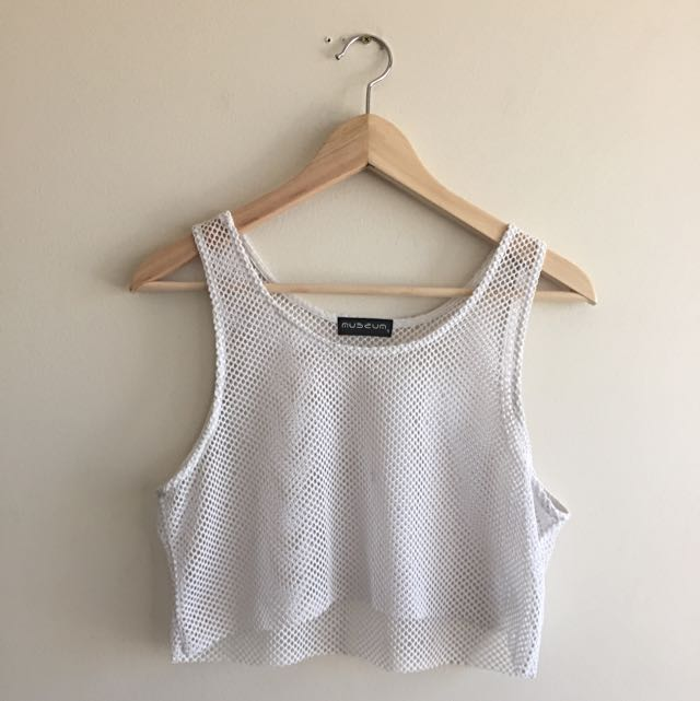 White Mesh Crop Top Women's Size 8