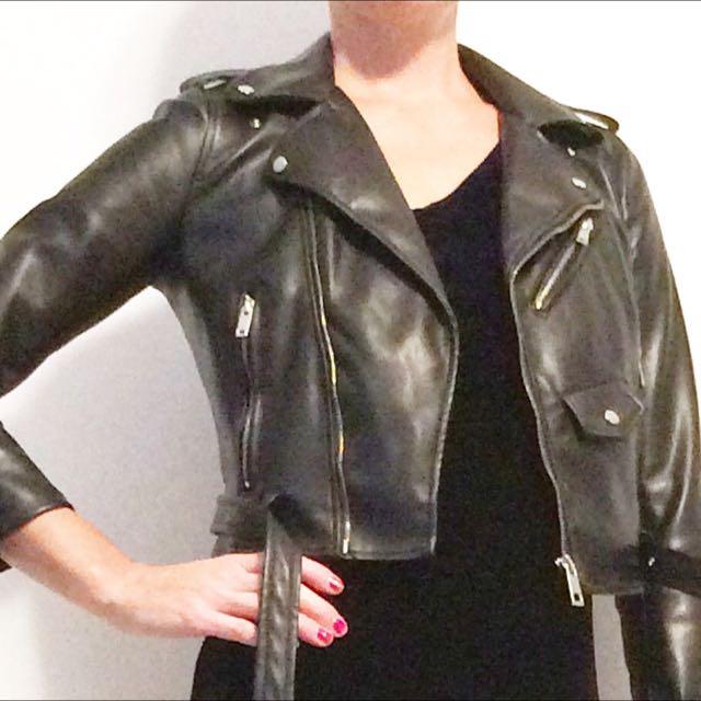 Zara Polyester Moto Jacket Sz Xs