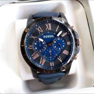 🗿FOSSIL 手錶 44mm 藍色皮錶帶 藍黑面盤 三眼計時 男錶女錶 FS5061
