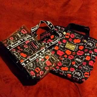 Betseyville By Betsey Johnson Tote And Laptop Case Set - Hot Lips Collection - Rare