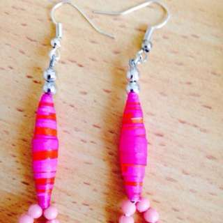 Lovely Pink paper Beads earrings handmade