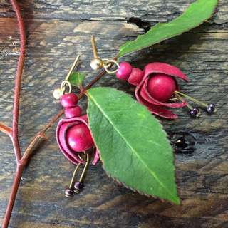 Fuschia Earrings - Vintage