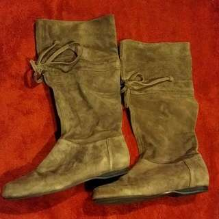 Brown Suede Nine West Boots Size 7